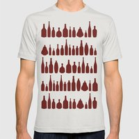 Bottles Red Mens Fitted Tee Silver SMALL