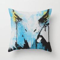 Eagle Eye Watching - Blu… Throw Pillow
