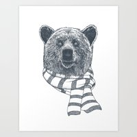 Winter Bear Drawing Art Print