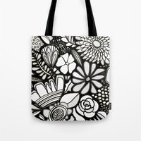 Flowers On The Wall Black & White Edition Tote Bag