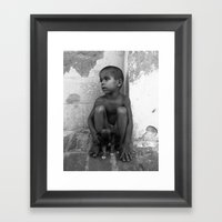 Cuban Child And Puppy Framed Art Print