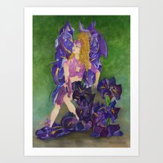 Fairy of the Japanese Purple Iris Flower Art Print