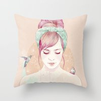 Pink hair lady Throw Pillow