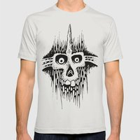 Skully Line Mens Fitted Tee Silver SMALL
