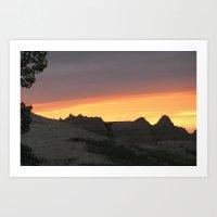 Badlands National Park at Sunset Art Print