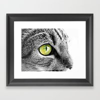 Emerald Cat Eyes In Blac… Framed Art Print