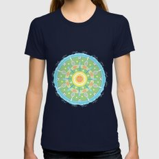 play outdoors mandala Womens Fitted Tee Navy SMALL