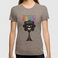 Rainbow Heart Womens Fitted Tee Tri-Coffee SMALL