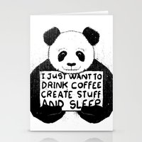 I Just Want To Drink Coffee, Create Stuff and Sleep Stationery Cards