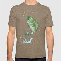 Bass Jumping At Night Mens Fitted Tee Tri-Coffee SMALL