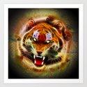Cosmic Fire Tiger Roar Art Print
