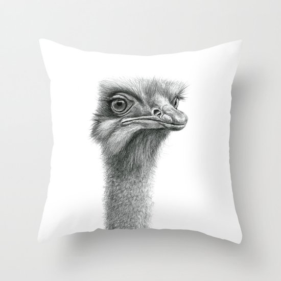 Funny Ostrich SK060 Throw Pillow
