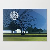 The Farm By Moonlight Canvas Print