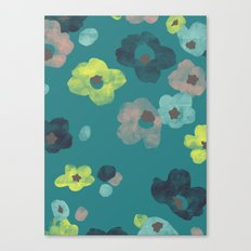 Watercolor Blooms - in Teal Canvas Print