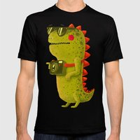Dino touristo (olive) Mens Fitted Tee Black SMALL