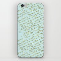 French Script on Paris Blue iPhone & iPod Skin