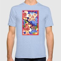 Whimsical Garden Mens Fitted Tee Tri-Blue SMALL