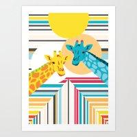 Giraffes In The Desert Art Print