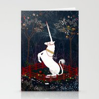 unicorn Stationery Cards featuring Unicorn by Danse de Lune