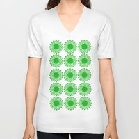 Vintage Flower_Green Unisex V-Neck