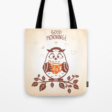 Owl With A Cup Tea Tote Bag