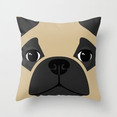 Pug Close Up Throw Pillow
