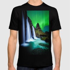 Aurora Borealis Waterfal… Mens Fitted Tee Black SMALL
