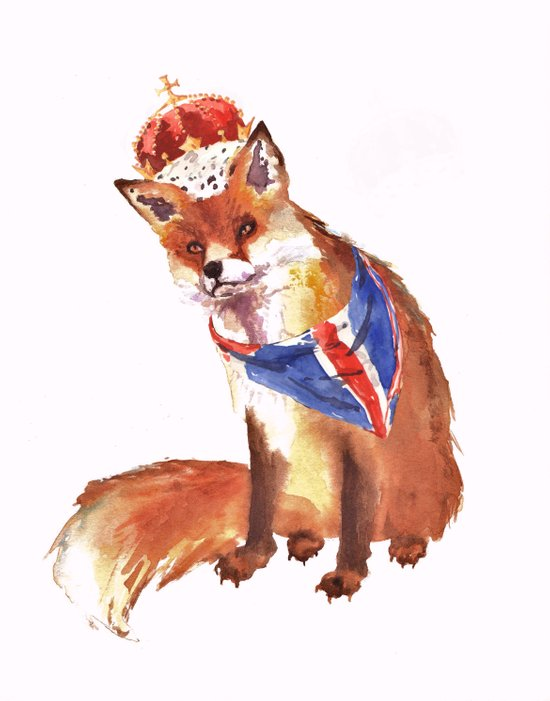 QUEEN's JUBILEE Fox - 8x10 inches Art Print