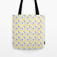 Yellow and Blue Flowers Tote Bag
