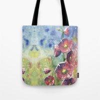 Hollyhocks - Pink Flowers Tote Bag