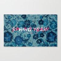 Spring Yeah! - Blue Flowers Canvas Print