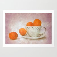 A Cup Full Of Apricots Art Print