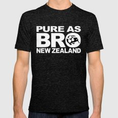 Pure as BRO  New Zealand Kiwi Mens Fitted Tee Tri-Black SMALL