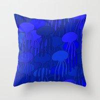 Jellyfish Blue Throw Pillow