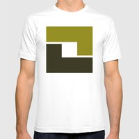B/W Box pattern Mens Fitted Tee White SMALL