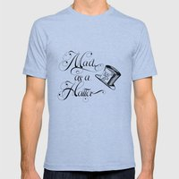 Alice in Wonderland Mad As A Hatter Mens Fitted Tee Tri-Blue SMALL