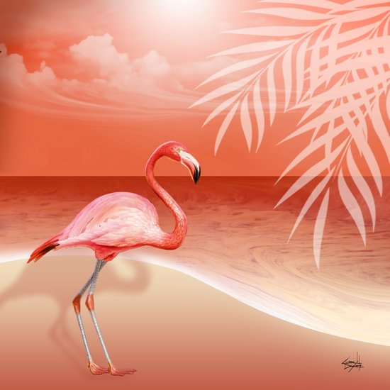 FLAMINGO BEACH | coral Art Print