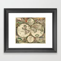 Old map of world hemispheres. Created by Frederick De Wit, 1668 Framed Art Print