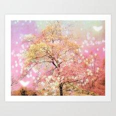 Shabby Chic Cottage Pink Yellow Nature Trees Decor Art Print