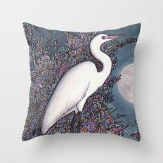 Egret in the Moonlight Throw Pillow