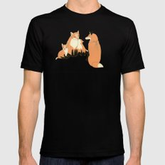 Fox family in the autumn forest SMALL Black Mens Fitted Tee