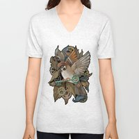 Clockwork Sparrow Unisex V-Neck