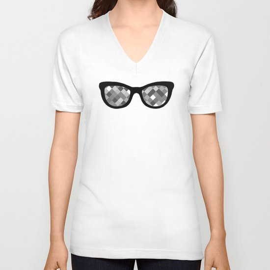 Diamond Eyes Black and White V-neck T-shirt