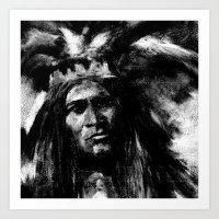 Primal - B&W Portrait of Native American Art Print