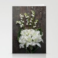 White Flowers on Rustic Table Stationery Cards