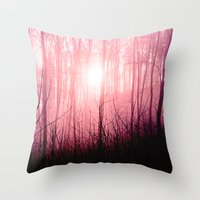 Pink fog in the forest Throw Pillow