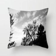 Black Trees Hopeful Sky Throw Pillow