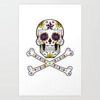 Sugar Skull & Cross Bones Art Print