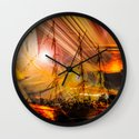 Sailing ships sunset Wall Clock