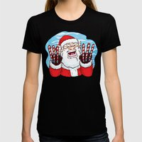 Santa Claws Womens Fitted Tee Black SMALL